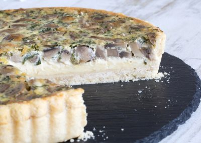 Roasted Garlic, Mushroom & Mature Cheddar Flan