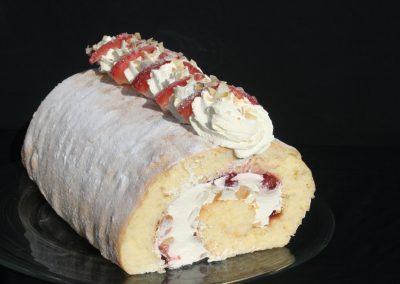 Strawberry & Toasted Almond Roulade